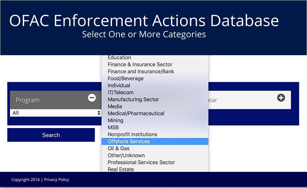 OFAC Enforcement Actions Database